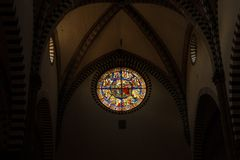 Florence Italien - September 08, 2017: Kyrka av Santa Maria Novella Inre och arkitektoniska detaljer av Santa Maria Novella Arkivbild