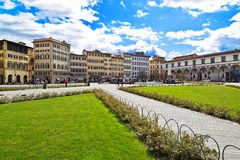 FLORENCE ITALIEN - SEPTEMBER 19, 2017: Piazzadi Santa Maria Nov Arkivbilder