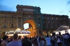Florence Italien sommarnatt Arkivfoto