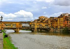 Florence famous bridge on the Arno river , Italy Stock Photography