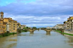 Florence city view with bridges over the river  ,  Royalty Free Stock Photos