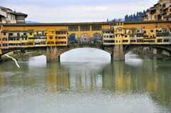 Florence city river and the famous Old Bridge , Italy Stock Images