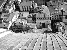 Florence Italy. View of the City of Florence in Italy from the top of the Duomo.  Dome of the Duomo in the Foreground Royalty Free Stock Images