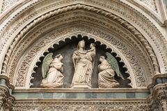 Florence, Italy - 24 April, 2018: detail of decoration of Cattedrale di Santa Maria del Fiore stock photo