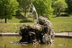 Florence, Italy - 23 April, 2018: the Neptune's Fountain in Boboli Gardens royalty free stock photo