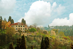 FLORENCE, ITALY - APRIL 16 2015: View over the Tuscan countryside in Florence Italy Royalty Free Stock Photos