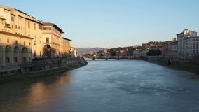 Florence, Italy, Arno river. Florence Italy Arno river. Evening time stock video footage