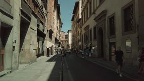 Tourists walking in old Firenze city sightseeing landmarks stock video footage