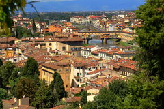 Florence, Italy. Bridge Ponte Vecchio over Arno River Royalty Free Stock Images