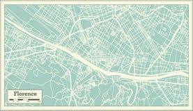 Florence Italy City Map i Retro stil skisserar kartlägger vektor illustrationer