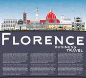 Florence Italy City Skyline avec les bâtiments de couleur, le ciel bleu et le C illustration de vecteur