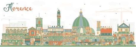 Florence Italy City Skyline con los edificios del color stock de ilustración