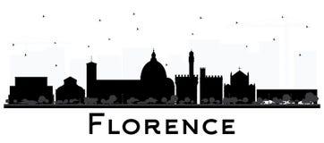 Florence Italy City Skyline Silhouette avec l'isolant noir de bâtiments illustration de vecteur
