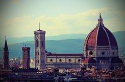 FLORENCE Italy de koepel genoemd Koepel del Brunelleschi en Klok royalty-vrije stock fotografie