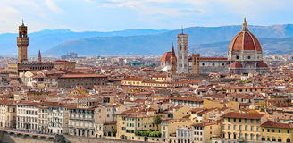 Florence in Italy with the dome of the Duomo and Palazzo Vecchio Stock Photo