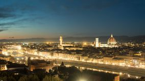 FLORENCE in Italy with the dome and Palazzo della Signoria and arno river. Panorama of the city of FLORENCE in Italy with the dome and Palazzo della Signoria and stock footage