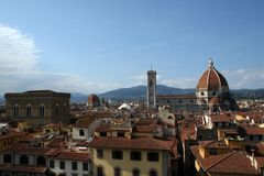 Florence Italy and the Duomo. An aerial photo of Florence Italy (Tuscany) with the great dome of the Duomo cathedral in clear view Royalty Free Stock Photos