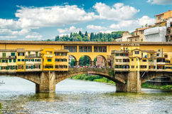 FLORENCE, ITALY. A famous Ponte Vecchio, one of Florence's oldest and most photographed bridges Royalty Free Stock Image