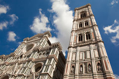 Florence, Italy, the fasade of Florence Cathedral and Giotto tower with  great marble décor Stock Image