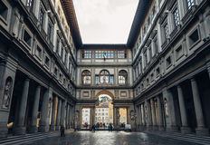 FLORENCE, ITALY - FEB 06, 2017: Uffizi gallery perspective at su Stock Photography
