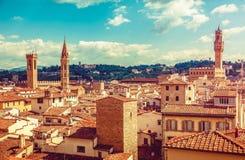 Florence Italy gammal stad med tegular hus royaltyfri bild