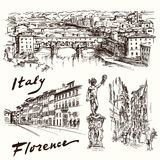 Florence, Italy. Hand drawn set Royalty Free Stock Photography