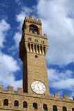 Florence Italy Historic clock tower building called Palazzo Vecc Stock Photo