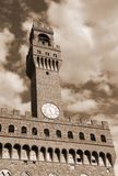 Florence Italy Historic clock tower building in the main city sq Royalty Free Stock Photo