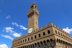 Florence Italy Historic clock tower building in the main square Royalty Free Stock Photo