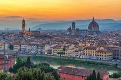 Florence Italy, horizonte de la ciudad de la puesta del sol foto de archivo libre de regalías
