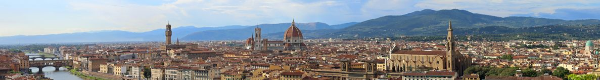 Florence Italy Incredible Stitched Panorama. With Arno River Old Palace and the Big Dome of The Cathedral called Duomo di Firenze royalty free stock photography