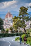 FLORENCE, ITALY - January 23, 2009: The Piazzale Michelangelo Michelangelo Square view of the Brunelleschi`s Dome Royalty Free Stock Images