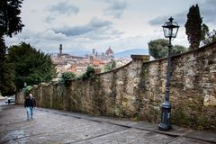 FLORENCE, ITALY - January 23, 2009: hiking or walking the streets of Florence, Italy Royalty Free Stock Images