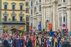January 6 Traditional Celebration at Florence, Italy stock photo
