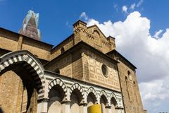 Architectures and religion. FLORENCE, ITALY - JULY 25, 2017: external architecture of the Basilica of Santa Maria Novella - Tuscany Royalty Free Stock Photo