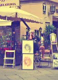 FLORENCE, ITALY - JULY 3, 2011: Painter waiting muse and buyer in Italy Stock Photos