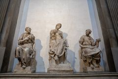 Closeup view of marble sculpture by Italian artist in Medici Chapels royalty free stock images