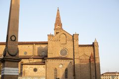 Basilica of Santa Maria Novella. Florence, Italy-June 2, 2015. Exterior detail of the Basilica of Santa Maria Novella, situated just across from the main railway stock photo