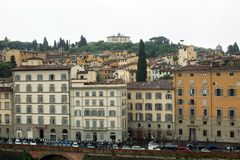 Buildings along the Arno River. Florence, Italy-June 12, 2015.Historic buildings beside the Arno River, Florence, Italy stock image