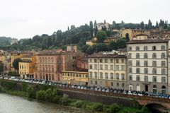 Buildings along the Arno River. Florence, Italy-June 12, 2015.Historic buildings beside the Arno River, Florence, Italy royalty free stock photos