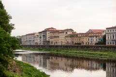 Buildings along the Arno River. Florence, Italy-June 12, 2015.Historic buildings beside the Arno River, Florence, Italy stock photos