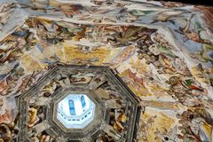 Interior of Il Duomo Cathedral. Florence, Italy, June 13, 2015: Interior of Il Duomo Cathedral, with magnificent art work on the ceiling, Florence, Italy stock images
