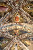 Interior view of Basilica De Sante Croce. Florence, Italy, June 11, 2015: Interior view of Basilica De Sante Croce, with amzing artwork, Florence, Italy royalty free stock photos