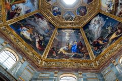 Ornate dome inside of Medici Chapel. Florence, Italy, June 12, 2015: Interior view of an ornate dome inside of Medici Chapel, Florence, Italy stock photos