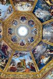 Ornate dome inside of Medici Chapel. Florence, Italy, June 12, 2015: Interior view of an ornate dome inside of Medici Chapel, Florence, Italy royalty free stock photography