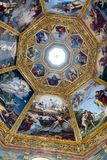 Ornate dome inside of Medici Chapel. Florence, Italy, June 12, 2015: Interior view of an ornate dome inside of Medici Chapel, Florence, Italy royalty free stock images