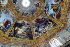 Ornate dome inside of Medici Chapel. Florence, Italy, June 12, 2015: Interior view of an ornate dome inside of Medici Chapel, Florence, Italy royalty free stock photos