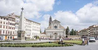 Plaza de Santa Maria Novella seen from the opposite side to the church of the same name. Florence, Italy. June 1, 2018: Plaza de Santa Maria Novella seen from royalty free stock images