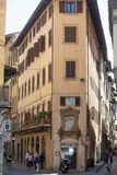 View down narrow alleys. Florence, Italy, June 2, 2015: View down narrow alleys with people andd shops, Florence, Italy royalty free stock image