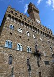 Florence Italy The main facade of the old palazzo in the main sq. Florence Italy Big high tower over the main facade of the old palazzo in the main square of the Stock Images